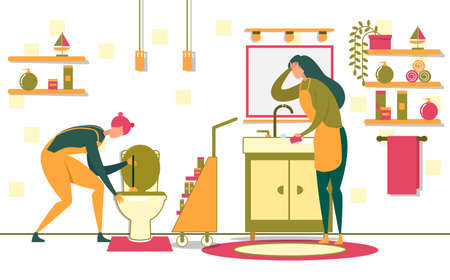 Women from Serviece Cleaning Bathroom and Toilet Flat Cartoon Vector Illustration. Girl Wiping Washbasin with Sponge. Housewife or Maids with Equipment and Detergents. Shelves and Mirror.