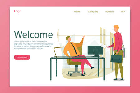 Welcome Header and Businessman Welcoming Partner.