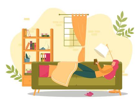 Woman Laying on Couch Holding Book Vector Illustration. Girl Reading in Living Room. Study, Learning, Education at Home. Free Time Relaxation. Interior with Sofa, Lamp, Bookcase, Window Illustration