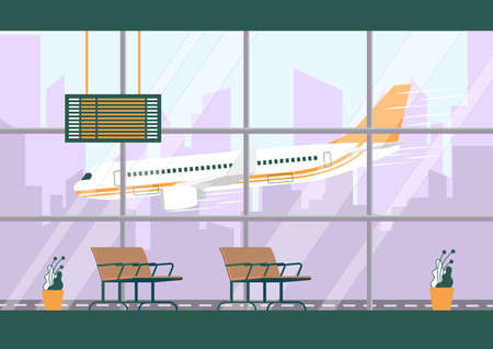 Departure Hall Interior Inside Airport Terminal Building. Empty Waiting Room with Seats and Timetable. Airplane Landing behind Window. Wait Plane Flight in Hall Vector Illustration Stock Illustratie