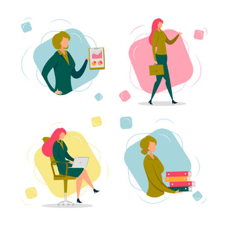 Business Lady Busy with Daily Office Work and Duties Cartoon Characters Set. Professional Women, Finance Occupation, Successful Female Socialization and Career. Flat Vector Illustration Isolated.