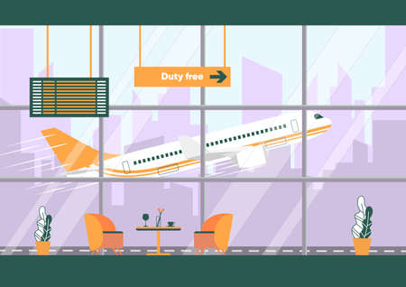 Empty Waiting Room Interior Inside Airport Terminal Building. Coffee Table with Chairs, Plane Flight Timetable Vector Illustration. Airplane Takeoff behind Window. Departure Hall Lobby
