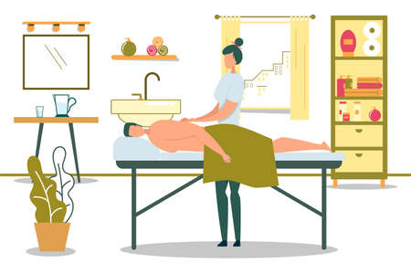 Medical Massage Flat Cartoon Vector Illustration. Osteopaths Doing Treatment. Massaging Patients on Professional Table. Manual Therapy Doctor. Rehabilitation Concept in Hospital Office Interior.