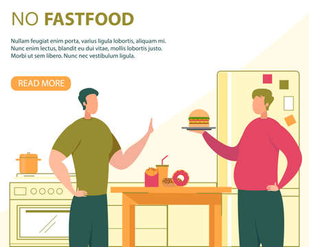 Healthy Nutrition Without Fast Food Flat Vector Banner, Poster Template with Healthy Man Refusing Eat Hamburger and High Calorie Snacks, Fat Man Offering Unhealthy Food to Friend at Home Illustration Illusztráció
