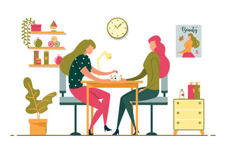 Girl Takes Care herself and Manicures Flat Banner. Master from Salon Helps Client to Look Soigne and Neat, she make Nails Beautiful. Room has Cozy Atmosphere, Plants and different Jars.