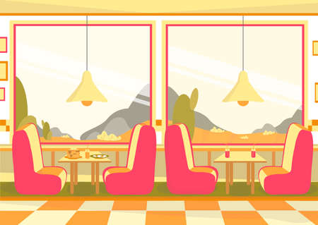 Bistro Restaurant or Cafeteria Dining Room with Big Windows and Furniture Interior. Roadside Cafe, Snack Bar or Coffee House with Mountain View and Couches. Flat Cartoon Vector Illustration. Illusztráció