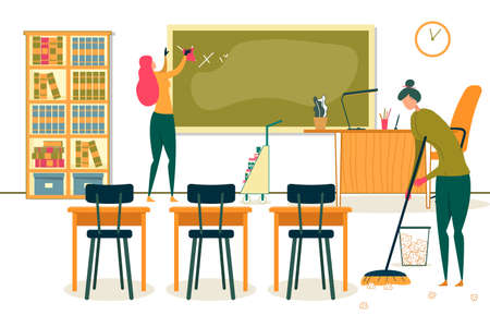 Workers Cleaning Class or Office Flat Cartoon Vector Illustration. Woman Wiping Blackboard, Girl Sweeping Floor from Paper Pieces. Trolley with Detergents and Equipment. School with Furniture.