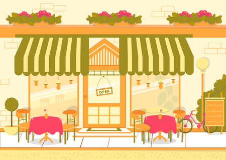 Street Restaurant or European Cuisine Cafe Building Facade with Tables and Chairs. Catering Restaurant Exterior or Cafeteria Summer Terrace with Classical Striped Canopy. Flat Vector Illustration. Ilustrace