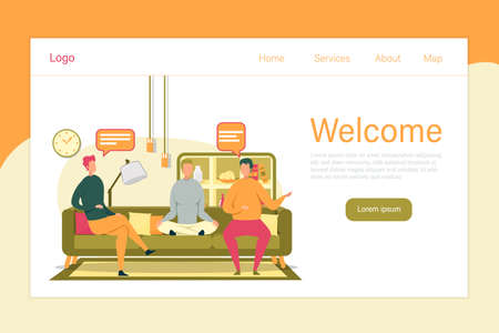Welcome Greeting Header and People Cartoon Characters, Creative Business Team Colleagues have Rest and Spend Time Together. Teamwork and Positive Working Environment. FLat Vector Illustration.