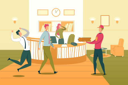 Company Staff or Corporate Team Running Race in Working Rush and Time Limit. Business People or Office Employees Cartoon Characters Busy with Work in Deadline Conditions. Flat Vector Illustration.