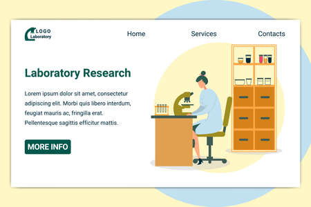 Woman Scientist Sitting at Table and Working with Microscope Flat Cartoon Banner Vector Illustration. Worker Doing Chemical Research in Laboratory. Shelves with Bottles, Glasses and Test Tubes.