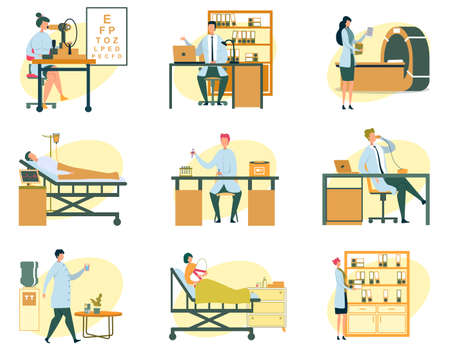 Hospital Scenes, Different Doctors and Patients Flat Cartoon Vector Illustration. Ophthalmologist with Eye Test Machine, Scientist with Test Tubes, MRI Equipment, Ward with People. Ilustracja