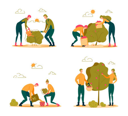 Gardening Hobby, Householding Activity and Work at House Backyard with Man and Woman Characters Set. Planting, Fruit-growing and looking after Trees and Plants. Flat Vector illustration Isolated.