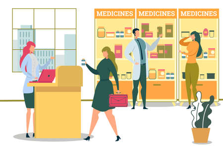 Doctor Pharmacist Showing Medicines near Showcase to Woman Client Flat Cartoon Vector Illustration. Shop Assistant Taking Order, Customer Buying Pills in Drugstore. Pharmacy Interior with People.