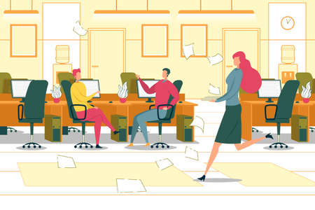 Business Office Working Environment in Deadline and Rush. Company Employees Busy and Stressed at Work in Hurry to Complete Work Tasks and Project, Management Order. Flat Cartoon Vector Illustration.