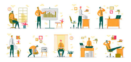 Businessman or Entrepreneur, Office Clerk Cartoon Character Collection Performing Daily Work Routine. Modern Urban People Occupation and Successful Career Building. Flat Vector Illustration Isolated. Ilustração