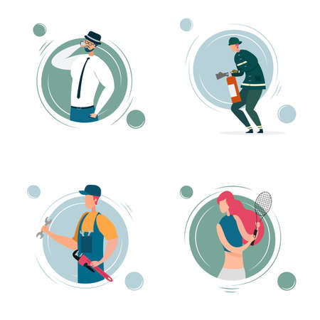 Cartoon Man and Woman Portrait Different Professions Set. Technician or Plumber with Wrench, Fireman with Fire Extinguisher, Businessman Talking Phone, Female Tennis Player. Vector Flat Illustration