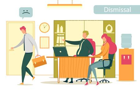 Dismissed Frustrated Company Employee Leaving Office. Angry Boss Firing Ineffective Worker. Unemployment, Job Reduction and Staff Rotation with Business People Characters. Flat Vector Illustration.