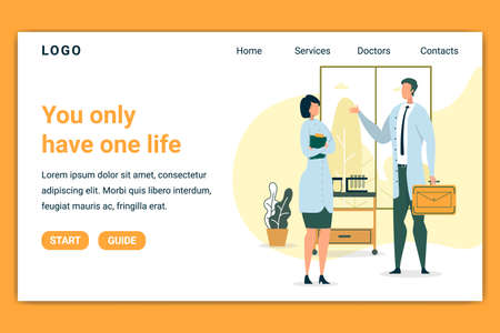 You Only Have One Life Flat Banner Vector Illustration. Doctors or Scientist Having Conversation. Medical Workers in Uniform with Documents and Suitcase. Test Tubes on Shels Landing Page.