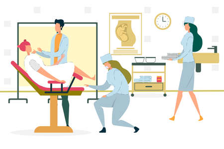 Woman Sitting on Chair with Gynecologist in Hospital Office or Cabinet Flat Cartoon Vector Illustration. Doctor Examining Girl. Nurses Helping Medical Worker. Pregnancy Concep. Newborn Child.