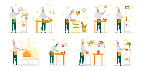 Cook Chef in White Robe and Uniform Cap Working in Restaurant Kitchen - Man Cartoon Characters Set. Professional Culinary and Cookery, Male Job Occupation. FLat Vector Illustration Isolated. Ilustracja