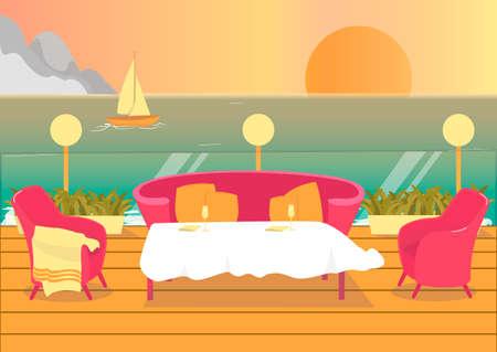 Seaside Resort or Luxury Hotel Restaurant Terrace. Stock Illustratie