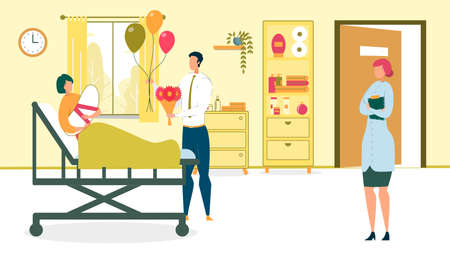 Man Visiting Wife Lying with Newborn Baby on Bed with Flowers and Balloons Flat Cartoon Vector Illustration. Doctor in Uniform Looking at Patient. Hospital Ward with Happy Family Members. Parenthood.