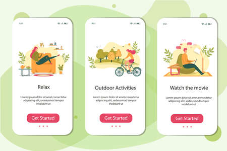 Watch Movie, Outdoor Activities, Relax Banner Set. Woman Ride Bicycle, Summer Sport. Girl on Couch Drink Tea. Man Sit with Notebook on Chair, Eat Pizza. Fun Weekend at Home, Relaxation, Rest