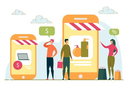 Online Shopping, Internet Purchasing with People. Vektorové ilustrace