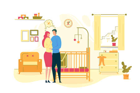 Waiting for Baby Birth, Happy Parenthood and Maternity Flat Vector Concept with Couple Dreaming About Child, Pregnant Woman Hugging with Husband near Baby Bad at Home, Planning Future Illustration Ilustracja