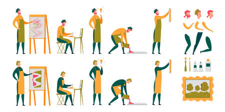 Artist, Designer, Illustrator Character at Work in Art Studio Creation Flat Set. Male Character of Creative Profession, Body Parts, Painting Accessories and Equipment. Vector Cartoon Illustration Ilustracja