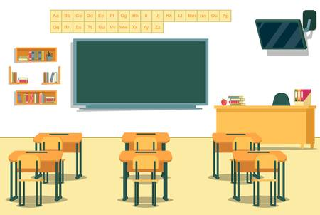 View from Students Desks to Green Blackboard with English Alphabet Above. Spacious Elementary School Class Room. Multimedia Equipment for Educational and Training Presentations. Shelving with Books. Иллюстрация