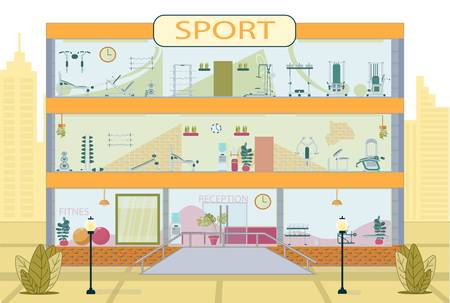 Detailed Sport Center. Contemporary Three-Storied Building Exterior. Gym, Fitness Room Inside. Modern Equipment and Training Machine. Reception Area. Workout Location. Vector Illustration Vector Illustratie