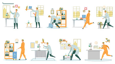 Research Scientist and Chemistry Laboratory Set. Clinical Lab. Doctors and Researchers Rushing, Conducting Laboratories Experiments, Working with Substances and Reagents in Flasks. Vector Illustration