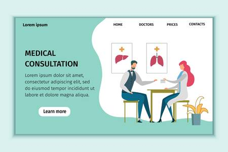 Medical Consultation Healthcare Flat Landing Page. Man at Doctor Appointment. Medic Female Specialist Giving Prescription to Patient. Health and Medicine Online Service. Vector Illustration