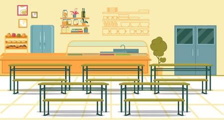 Cantina de la escuela secundaria apropiadamente equipada que brinda servicios a la comunidad de estudiantes. Diseño de interiores clásico. Comedor con mesas y bancos para el almuerzo compartido para fortalecer la unión de los sentidos.