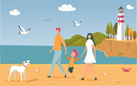 Happy Family Mother, Father and Son Holding Hands Walking with Dog Outdoors along Ocean Beach with Lighthouse. Parents with Child Relaxing Together on Summer Seaside. Cartoon Flat Vector Illustration