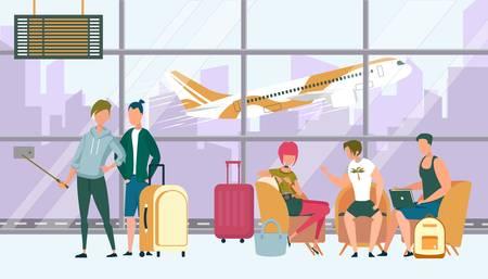 Compañía de adolescentes que viajan juntos esperando el embarque y el registro en el avión en el aeropuerto. Los niños y niñas hacen Selfie, amigos sentados en el sofá en la sala de embarque. Ilustración de Vector plano de dibujos animados