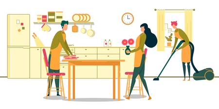 Cleaning Service for Kitchen Room Flat Cartoon Vector Illustration. Man Serving Table with Plates, Woman Putting Vase with Flowers, Girl Tidying Up Floor with Vacuum Cleaner. Household Chores. Vector Illustration