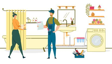 Housewife Carry Tray with Drink for Plumber after Washing Machine Maintenance and Set Up. Grateful Woman Treat Worker, Contractor Holding Bill for Paying Service. Cartoon Flat Vector Illustration