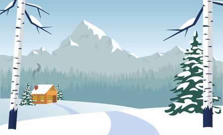 Weg zum einsamen Haus im Tiefschnee mit Rauch aus dem Schornstein. Bare Birken, grüne Tannen mit flauschigem Schnee bedeckt. Weiße Winterlandschaft. Berge mit schneebedeckten Gipfeln im Hintergrund.