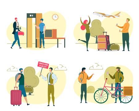 People Traveling Set. Men and Women Travel by Plane and Bike Isolated on White Background. Tourist Passing Metal Scanner in Airport. Agent Meeting Guest. Bikers Riders Cartoon Flat Vector Illustration