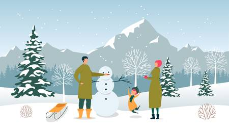 Flat Dad, Mom and Son Sculpt Snowman, Winter Fun. Man Decorates Snowman with Carrot. Little Boy Warmly Dressed Cheerfully Jumping. Adults with Child on Vacation in Mountains. Snow Landscape Ilustração