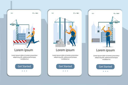 Architecture Working Process. Apartment House Building. Home Estate with Blocks and Walls. Mobile Pages Set. Onboard Phone Screens Design. Unfinished Engineering Project. Vector Illustration