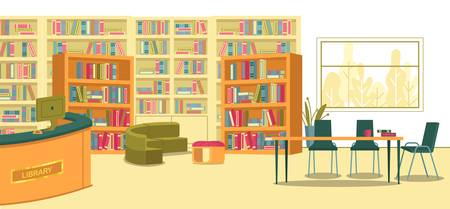 Place Where Students and Teachers Can Gather to Research, Design, Create and Collaborate. Modern School Library Interior. Shelving with Books. Librarians Desk with PC. Space for Learning Activities.