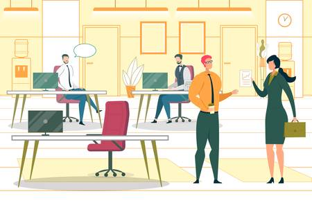 Shared Business Workspace Flat Vector Illustration. Company Employees Working with Computers Cartoon Characters. Corporate Coworkers Communication. Modern Workplace, Open Space Office Concept