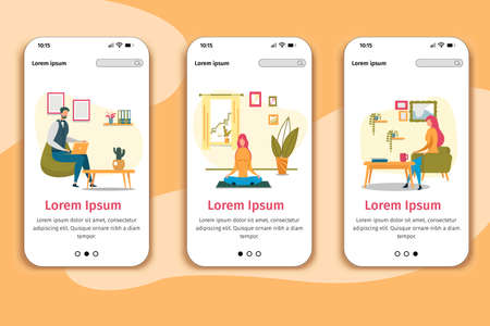 Work and Recreation at Home Responsive Design Mobile Page Flat Phone Onboard Screens Set. Man Working on Laptop, Woman Meditating in Lotus Posture, Lady Having Coffee Break. Vector Illustration