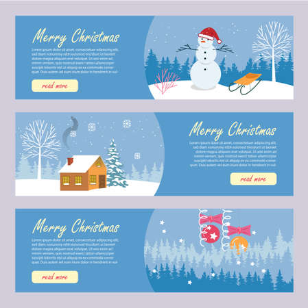 Merry Christmas Advertising Holiday Brochure Set. Flyer, Landing Web Page with Winter Scenes. Snowman in Santa Hat with Sled. House in Snowy Forest. New Years Balls, Snowflakes and Tinsel
