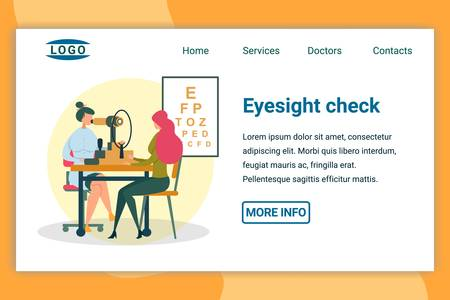 Eyesight Check in Hospital or Clinic Flat Cartoon Banner Vector Illustration. Ophthalmologist Doing Vision Diagnostics with Eye Test Machine Landing Page. Girl Patient on Medical Checkup.