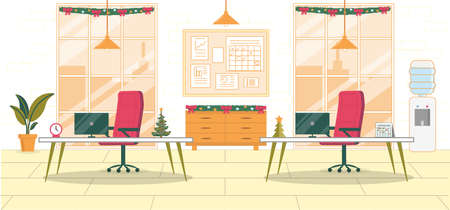 Workplace Interior. Office Decorated for Christmas. Empty Room with Two Desktops, Chairs and Computers. On Wall Hang Tables, Work Plans. Outside Window Metropolis Cityscape. New Years Holidays